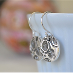 Sterling Silver Rose Hook Earrings.