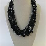 Black Grey Crochet Cotton Necklace Handmade OOAK  by Top Shelf Jewellery