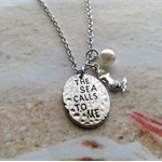 Nautical Word Stamped Silver Plated Mermaid Charm Pearl Chain Necklace Pendant