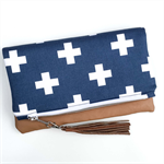 Zoe Folded Clutch - White Cross