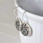 Sterling Silver Maple Leaf Hook Earrings.