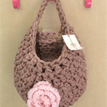 Tan Pink Crochet  Hanging Yarn Basket , t shirt Yarn Basket ,