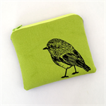 Screen printed robin purse - lime green