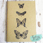 Butterflies Stamped & Embossed A6 Journal Pocket Notebook - 100% Recycled Paper