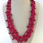 Hot Pink Crochet Cotton Necklace Handmade OOAK  by Top Shelf Jewellery
