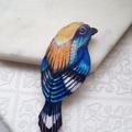 Blue Breasted Bird Wooden Brooch
