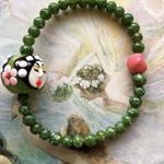 Geisha II - Beaded Bracelet with Hand Painted Porcelain Focal Bead