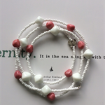 Salmon-pink & White Long Beaded Necklace with Butterfly Focal Bead