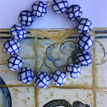 White & Blue Hand Painted Porcelain Beaded Stretch Bracelet
