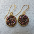 Magenta Rose Gold Druzy Gold Earrings on Nickel Free Tall French Hooks