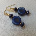 Royal Blue Marbled Picasso Flower Czech and Blue Iris Czech Glass Donut Gold Ear