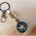 Resin Starfish Silver Plated Setting Pearl Beads Lobster Clasp Nautical Keyring