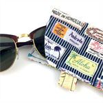 Glasses / sunnies case - Hawaii fabric with silver buttons