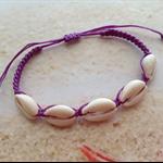 Nautical Cowrie Shell Adjustable Wax Purple Cord Beach Bracelet