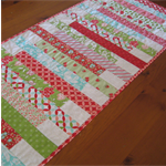 Table Runner - Patchwork - Red / Green / Aqua - Reversible - Mother's Day