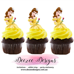 Belle Edible Wafer Stand-Up Cupcake Toppers - Set of 16