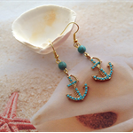 Nautical Gold Plated Turquoise Bead Beach Anchor Earrings Jewellery