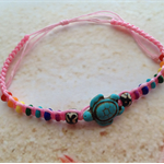 Turquoise Turtle Rainbow Beads Pink Braided Wax Cord Beach Bracelet