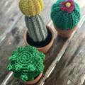 Miniature crochet cacti trio, cactus in a mini pot
