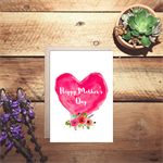 Happy Mother's day watercolour heart card