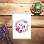 It's a girl wreath birth watercolour card