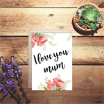 I love you mum watercolour Mother's day card