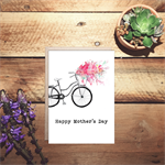 Happy Mother's day watercolour bicycle card