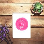 It's a girl birth watercolour card