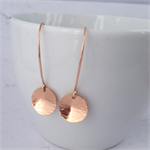 Rose Gold Hammered Circle Earrings. Rose Gold Filled/Bonded