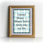 Money Affirmation Cards Argyle Set of 9 -  Printable Download Graphic