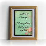 Money Affirmation Cards Roses Set of 9 -  Printable Download Graphic
