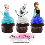 Frozen Edible Wafer Stand-Up Cupcake Toppers - Set of 16