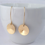 Yellow Gold Hammered Circle Earrings. Gold Filled/Bonded