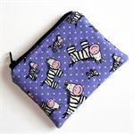 Coin Purse in Cute Zebra Fabric