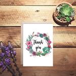 thank you succulents wreath watercolour card