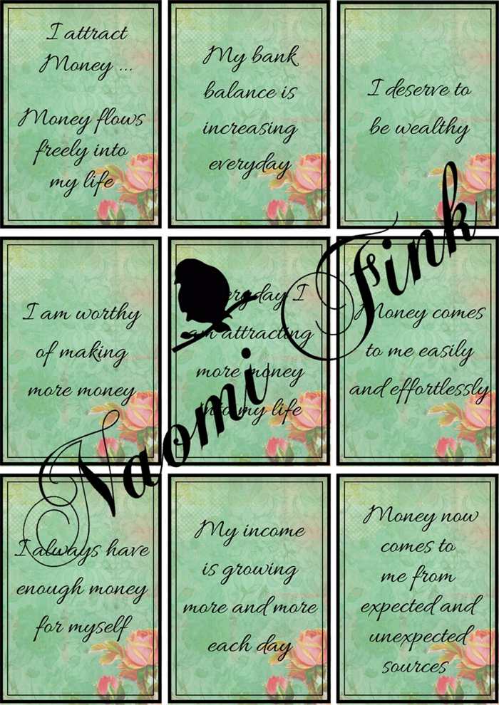 photograph about Affirmation Cards Printable known as Financial Confirmation Playing cards Roses Preset of 9 - Printable Obtain