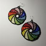 Rainbow Swirl Beaded Earrings, Bright, Boho