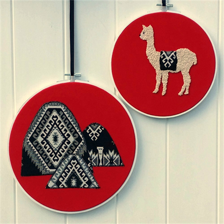 Alpaca/Mountain hoop art pair