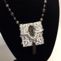 TREASURE POUCH PENDANT, Vintage Lace, Bridesmaid Gift, Miniature, Necklace, Bead