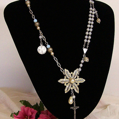 ALTERED PENDANT NECKLACE, Wrapped Wire, Re-purposed, Diamante Pendant, Crucifix