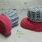 Dark Pink & Light Grey Newborn Crochet Baby Booties Shoes Socks