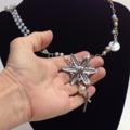 ALTERED PENDANT NECKLACE, Wrapped Wire, Re-purposed, Diamante Pendant, Crucifix