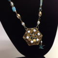 ALTERED PENDANT NECKLACE, Wrapped Wire, Re-purposed, Turquoise, Bluebird