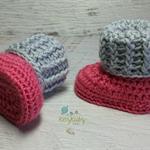Dark Pink & Light Grey Newborn Crochet Baby Booties Shoes Socks