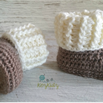 Light Brown & Cream Newborn Crochet Baby Booties Shoes Socks