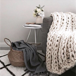 Chunky Knit Throw in Ivory