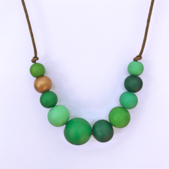 green tones and copper painted wooden beads necklace