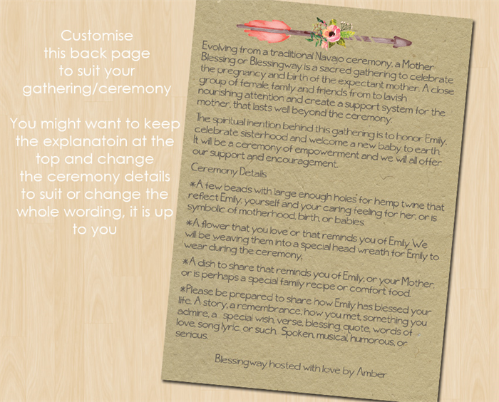 Mothers Blessing or Blessingway Invitation Customised Print