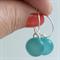 Turquoise Fused Glass Hoop Earrings