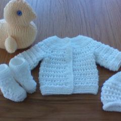 White Baby Cardigan and matching Beanie and Booties to fit preemie baby.
